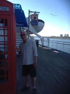 Dominic outside the Winston Churchill restaurant, with some British memorabilia.