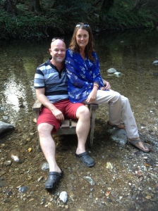 sat in a river, having a coffee along the Big Sur at the Big Sur River-inn Lodge.