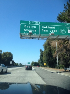 Road sign on the way to San Fran. Our daughter Evelyn will appreciate this.
