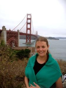 Karen wearing Nanny Rita's jumper on the way to GG bridge.