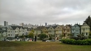 A row of houses called the painted ladies. The houses are a bit over-rated, but the view from Alamo square beyond the 'ladies' is pretty impressive.